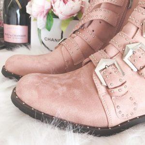 PINK BIKER boots
